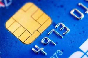 Credit card displays new EMV chip technology