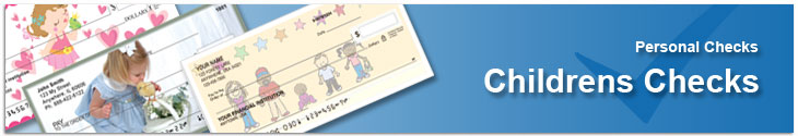 Order personal checks with photos of children and childhood remembrances