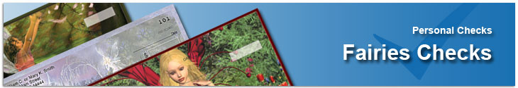 Order Fairy Checks With Beautiful, Artistic designs that include fairies and their fantasy world