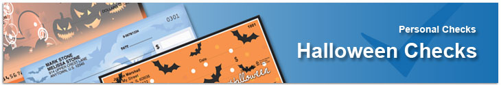 Order fun and scary Halloween themed personal checks