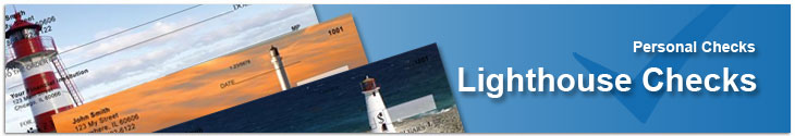 Order Lighthouse Checks with coastal water scenes with the guiding light of our famous lighthouses