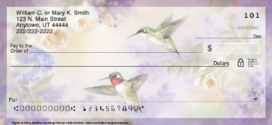 Click on Lena Liu's Flights of Fancy Hummingbird  Personal Checks For More Details