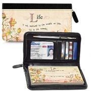 Click on Live, Laugh, Love, Learn Zippered Leather Checkbook Cover For More Details