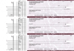 Learn more about Burgundy Marble Multi Purpose Business Checks