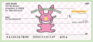 Click on It's Happy Bunny Girly  Personal Checks For More Details