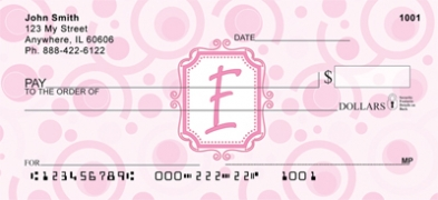 Click on Bubbly Monogram E Personal Checks For More Details