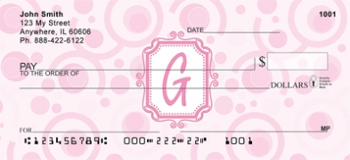 Click on Bubbly Monogram G Personal Checks For More Details