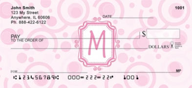 Click on Bubbly Monogram M Personal Checks For More Details