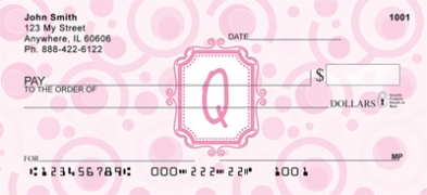 Click on Bubbly Monogram Q Personal Checks For More Details