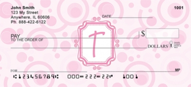 Click on Bubbly Monogram T Personal Checks For More Details