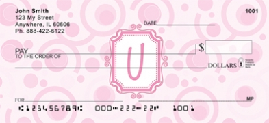 Click on Bubbly Monogram U Personal Checks For More Details
