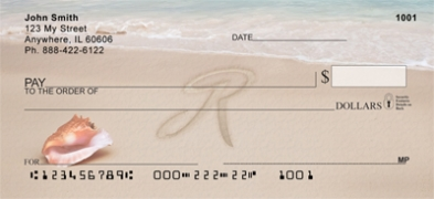Click on Sand Written Monogram R Personal Checks For More Details