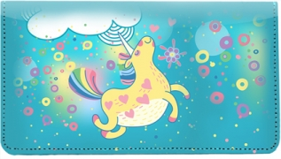 Click on Cartoon Unicorns Leather Checkbook Cover For More Details