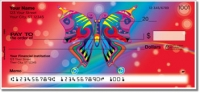 Psychedelic Butterfly Personal Checks