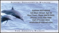 Click on Defenders of Wildlife - Dolphins Contact Cards Personal Checks For More Details